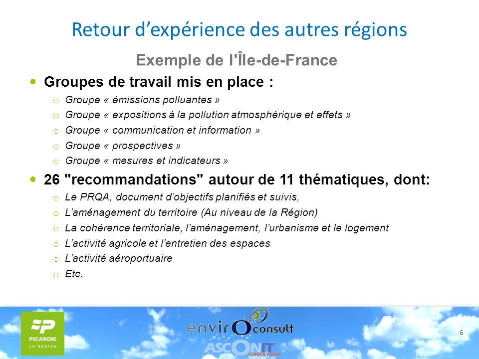 6 Exemple de l'Île-de-France Groupes de travail mis en place : o Groupe « émissions polluantes » o Groupe « expositions à la pollution atmosphérique e