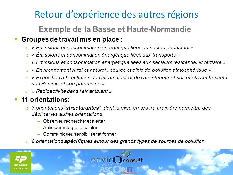 7 Exemple de la Basse et Haute-Normandie Groupes de travail mis en place : o « Émissions et consommation énergétique liées au secteur industriel » o «
