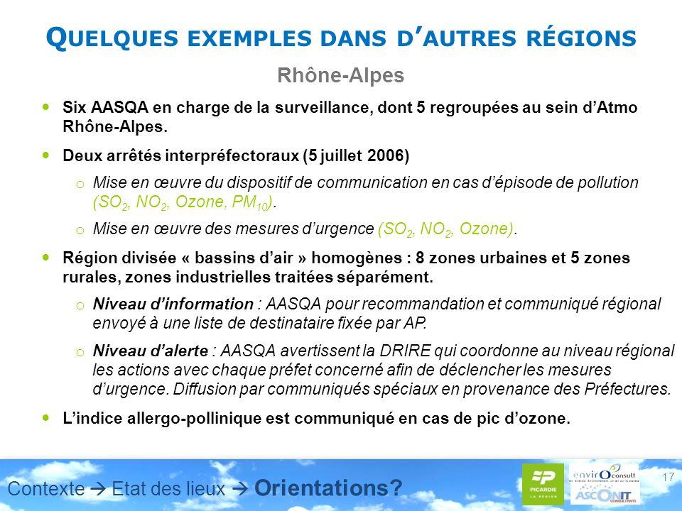 Q UELQUES EXEMPLES DANS D AUTRES RÉGIONS Rhône-Alpes Six AASQA en charge de la surveillance, dont 5 regroupées au sein dAtmo Rhône-Alpes. Deux arrêtés