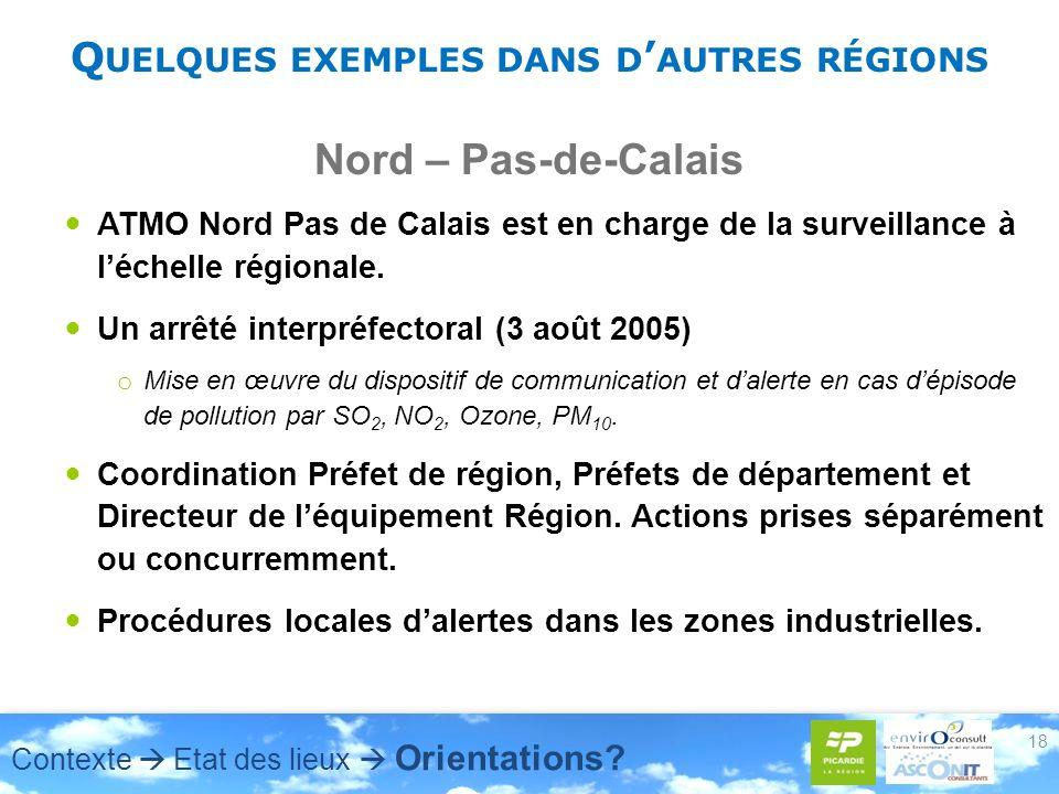 Q UELQUES EXEMPLES DANS D AUTRES RÉGIONS Nord – Pas-de-Calais ATMO Nord Pas de Calais est en charge de la surveillance à léchelle régionale. Un arrêté