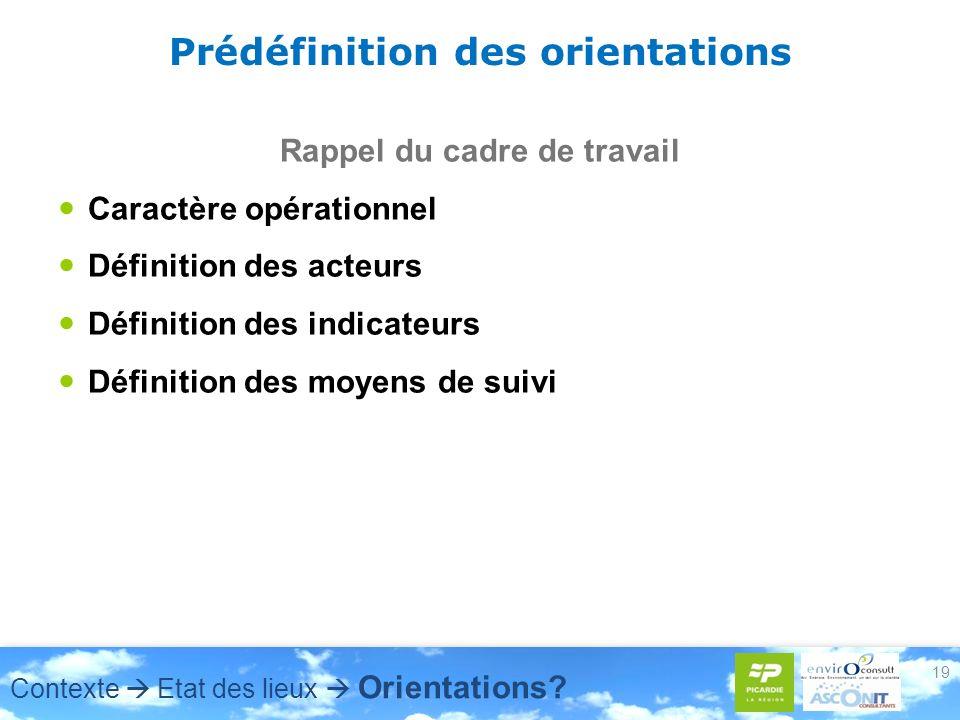 19 Prédéfinition des orientations Rappel du cadre de travail Caractère opérationnel Définition des acteurs Définition des indicateurs Définition des m