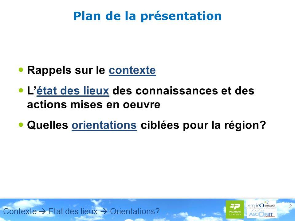 2 Plan de la présentation Rappels sur le contexte Létat des lieux des connaissances et des actions mises en oeuvre Quelles orientations ciblées pour l