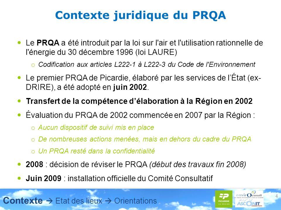 4 Contexte juridique du PRQA Le PRQA a été introduit par la loi sur l'air et l'utilisation rationnelle de l'énergie du 30 décembre 1996 (loi LAURE) o