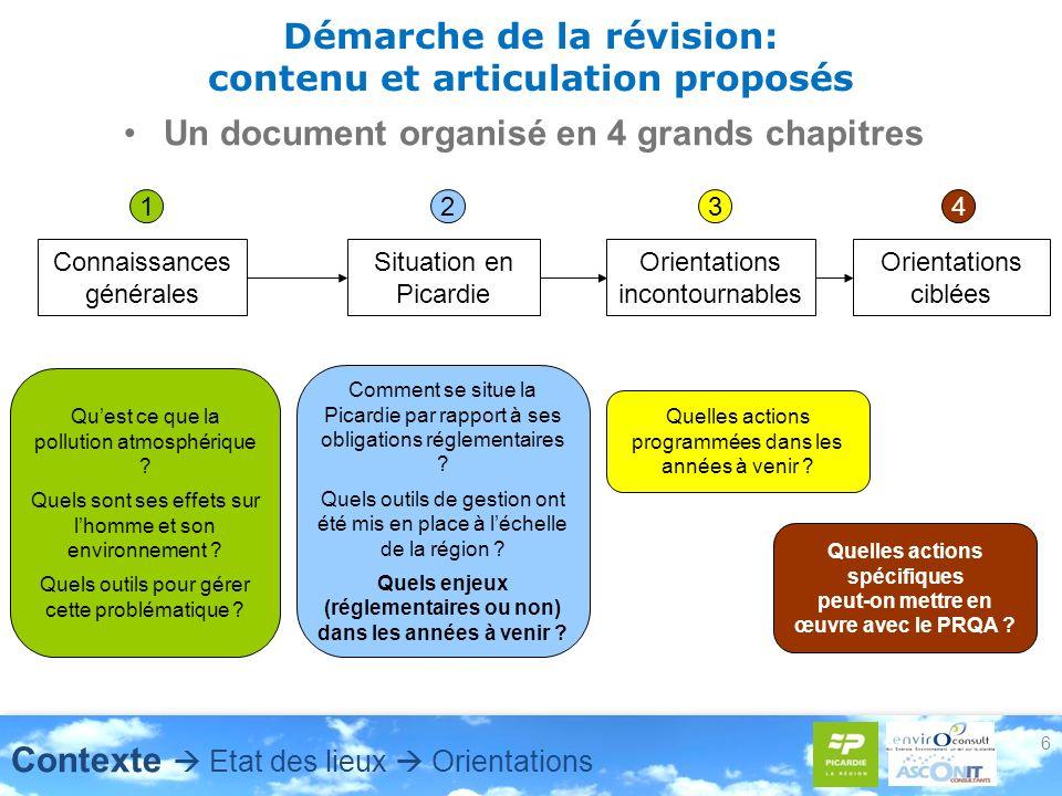 6 Démarche de la révision: contenu et articulation proposés Un document organisé en 4 grands chapitres Connaissances générales Quest ce que la polluti