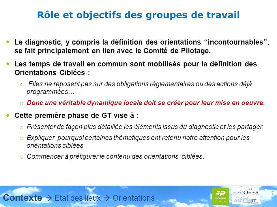7 Rôle et objectifs des groupes de travail Le diagnostic, y compris la définition des orientations incontournables, se fait principalement en lien ave