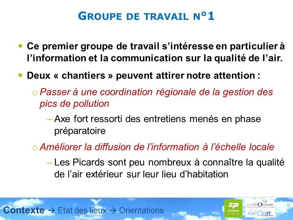 G ROUPE DE TRAVAIL N °1 Ce premier groupe de travail sintéresse en particulier à linformation et la communication sur la qualité de lair. Deux « chant
