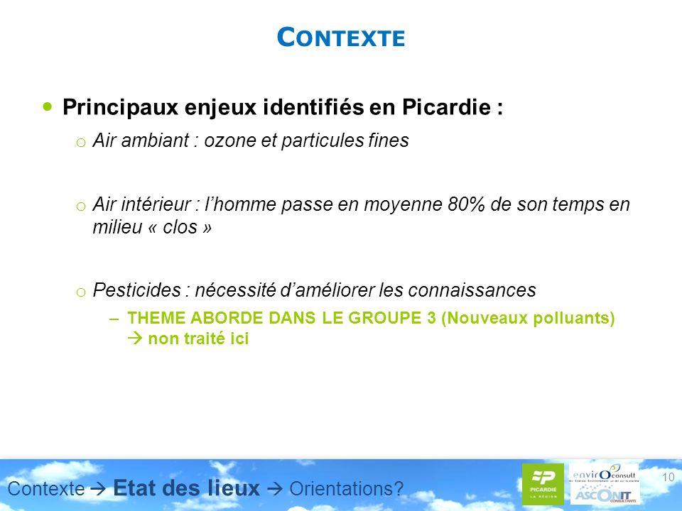 C ONTEXTE Principaux enjeux identifiés en Picardie : o Air ambiant : ozone et particules fines o Air intérieur : lhomme passe en moyenne 80% de son te