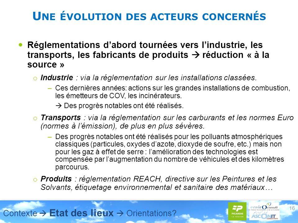 U NE ÉVOLUTION DES ACTEURS CONCERNÉS Réglementations dabord tournées vers lindustrie, les transports, les fabricants de produits réduction « à la source » o Industrie : via la réglementation sur les installations classées.
