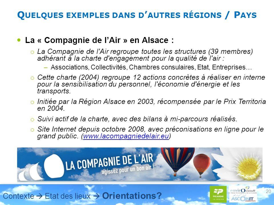 Q UELQUES EXEMPLES DANS D AUTRES RÉGIONS / P AYS La « Compagnie de lAir » en Alsace : o La Compagnie de l'Air regroupe toutes les structures (39 membr