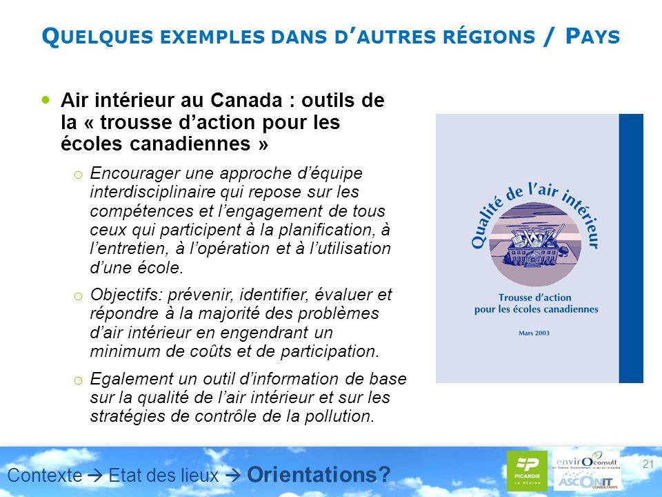 Air intérieur au Canada : outils de la « trousse daction pour les écoles canadiennes » o Encourager une approche déquipe interdisciplinaire qui repose