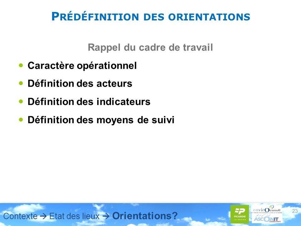 23 P RÉDÉFINITION DES ORIENTATIONS Rappel du cadre de travail Caractère opérationnel Définition des acteurs Définition des indicateurs Définition des