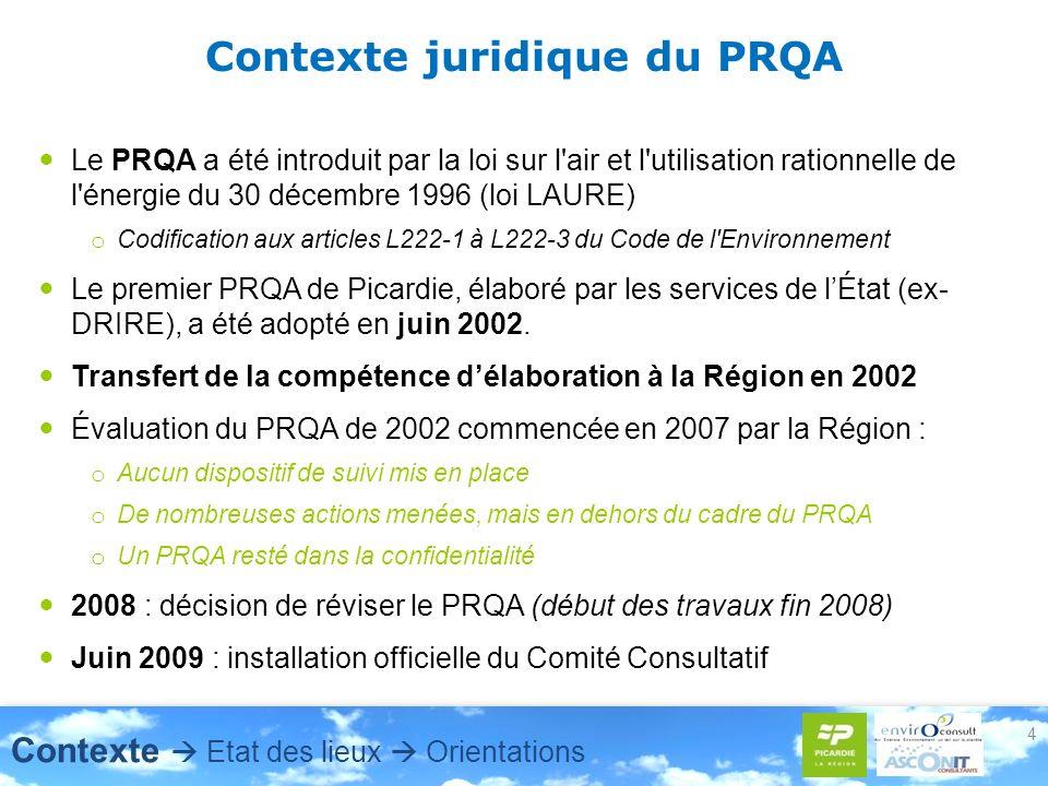 4 Contexte juridique du PRQA Le PRQA a été introduit par la loi sur l air et l utilisation rationnelle de l énergie du 30 décembre 1996 (loi LAURE) o Codification aux articles L222-1 à L222-3 du Code de l Environnement Le premier PRQA de Picardie, élaboré par les services de lÉtat (ex- DRIRE), a été adopté en juin 2002.