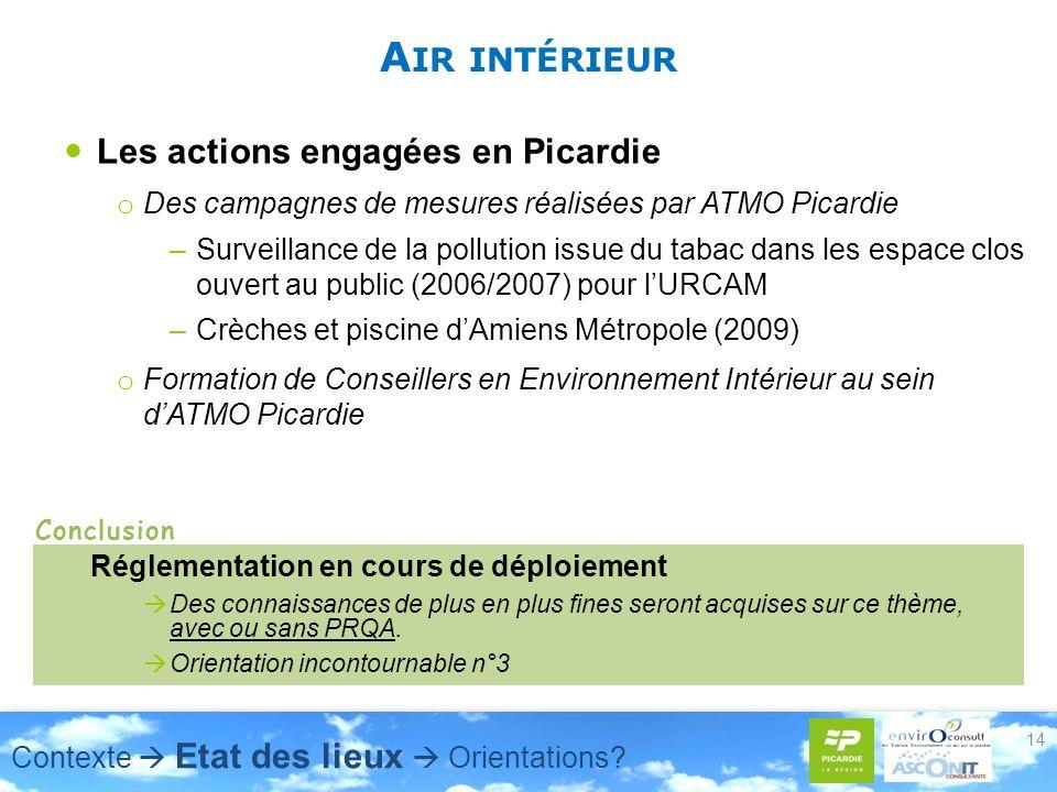 A IR INTÉRIEUR Les actions engagées en Picardie o Des campagnes de mesures réalisées par ATMO Picardie –Surveillance de la pollution issue du tabac dans les espace clos ouvert au public (2006/2007) pour lURCAM –Crèches et piscine dAmiens Métropole (2009) o Formation de Conseillers en Environnement Intérieur au sein dATMO Picardie 14 Réglementation en cours de déploiement Des connaissances de plus en plus fines seront acquises sur ce thème, avec ou sans PRQA.