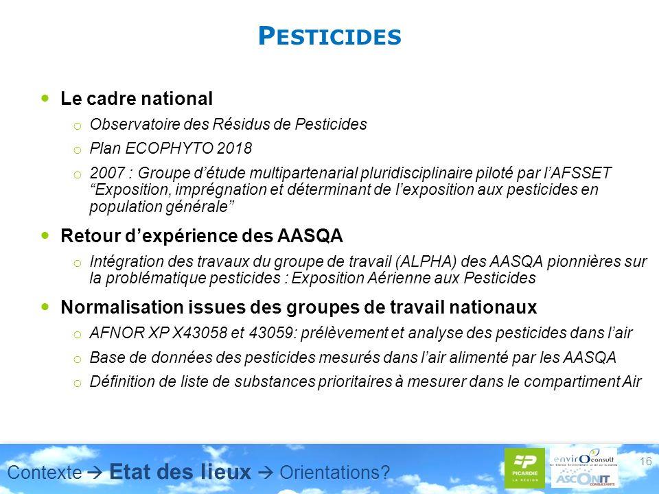P ESTICIDES Le cadre national o Observatoire des Résidus de Pesticides o Plan ECOPHYTO 2018 o 2007 : Groupe détude multipartenarial pluridisciplinaire piloté par lAFSSET Exposition, imprégnation et déterminant de lexposition aux pesticides en population générale Retour dexpérience des AASQA o Intégration des travaux du groupe de travail (ALPHA) des AASQA pionnières sur la problématique pesticides : Exposition Aérienne aux Pesticides Normalisation issues des groupes de travail nationaux o AFNOR XP X43058 et 43059: prélèvement et analyse des pesticides dans lair o Base de données des pesticides mesurés dans lair alimenté par les AASQA o Définition de liste de substances prioritaires à mesurer dans le compartiment Air 16 Contexte Etat des lieux Orientations
