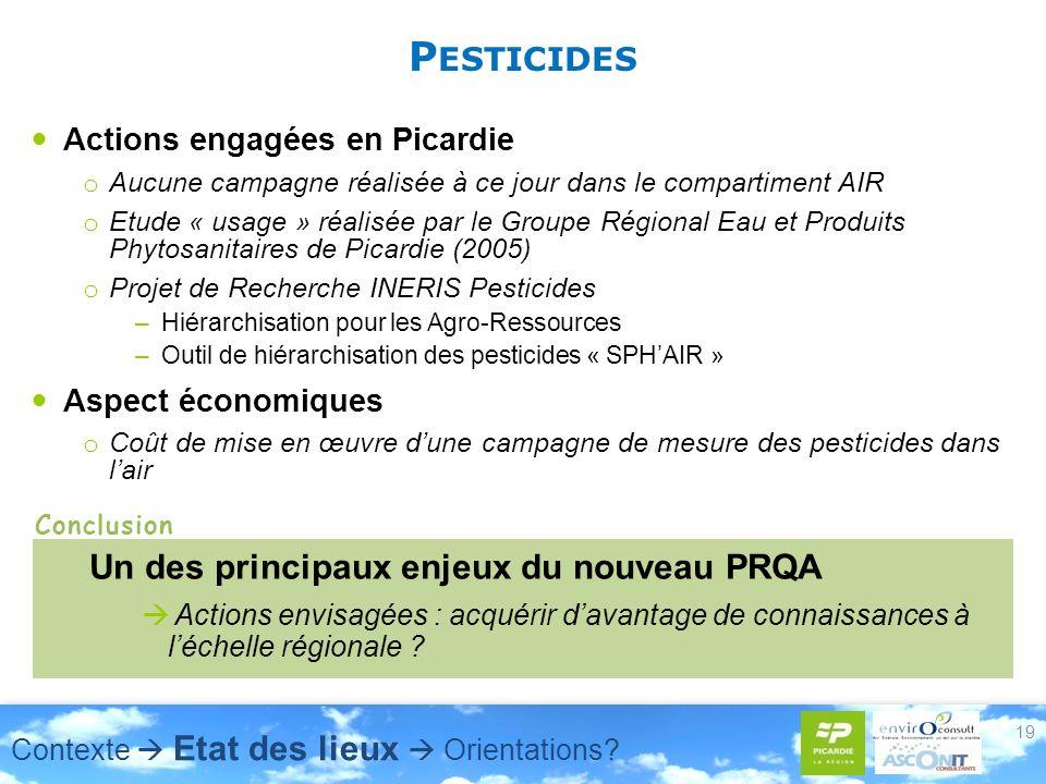 P ESTICIDES Actions engagées en Picardie o Aucune campagne réalisée à ce jour dans le compartiment AIR o Etude « usage » réalisée par le Groupe Régional Eau et Produits Phytosanitaires de Picardie (2005) o Projet de Recherche INERIS Pesticides –Hiérarchisation pour les Agro-Ressources –Outil de hiérarchisation des pesticides « SPHAIR » Aspect économiques o Coût de mise en œuvre dune campagne de mesure des pesticides dans lair 19 Un des principaux enjeux du nouveau PRQA Actions envisagées : acquérir davantage de connaissances à léchelle régionale .
