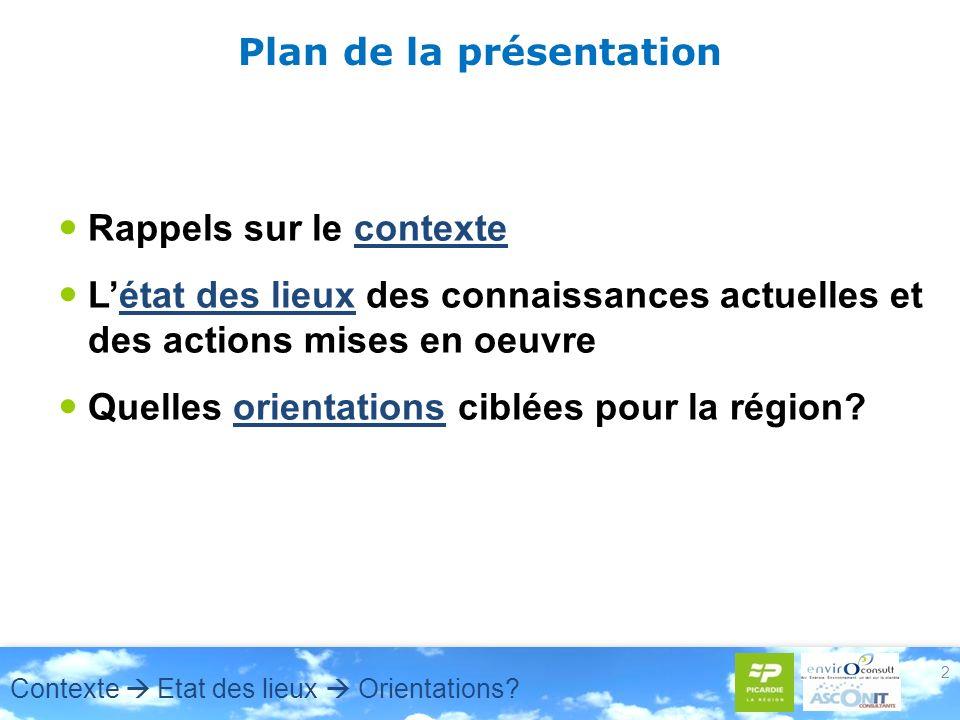 2 Plan de la présentation Rappels sur le contexte Létat des lieux des connaissances actuelles et des actions mises en oeuvre Quelles orientations ciblées pour la région.