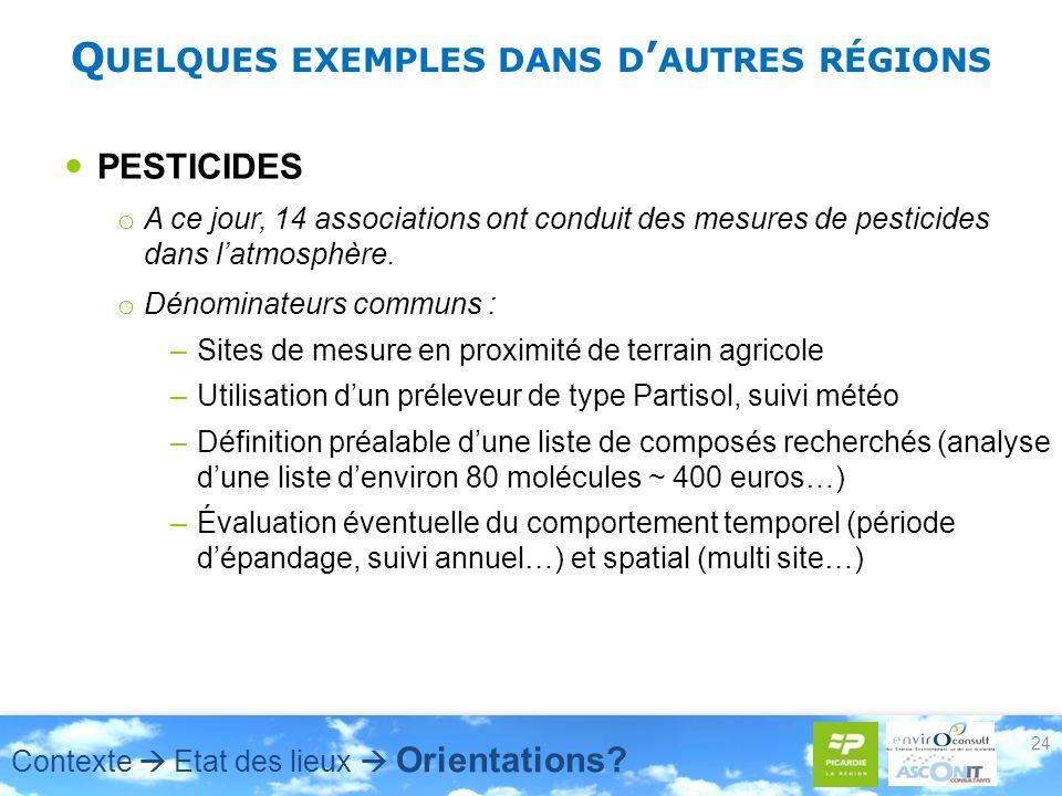 Q UELQUES EXEMPLES DANS D AUTRES RÉGIONS PESTICIDES o A ce jour, 14 associations ont conduit des mesures de pesticides dans latmosphère.