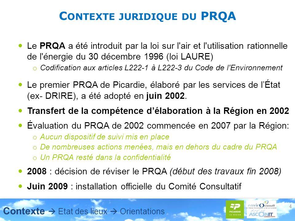C ONTEXTE JURIDIQUE DU PRQA Le PRQA a été introduit par la loi sur l air et l utilisation rationnelle de l énergie du 30 décembre 1996 (loi LAURE) o Codification aux articles L222-1 à L222-3 du Code de l Environnement Le premier PRQA de Picardie, élaboré par les services de lÉtat (ex- DRIRE), a été adopté en juin 2002.