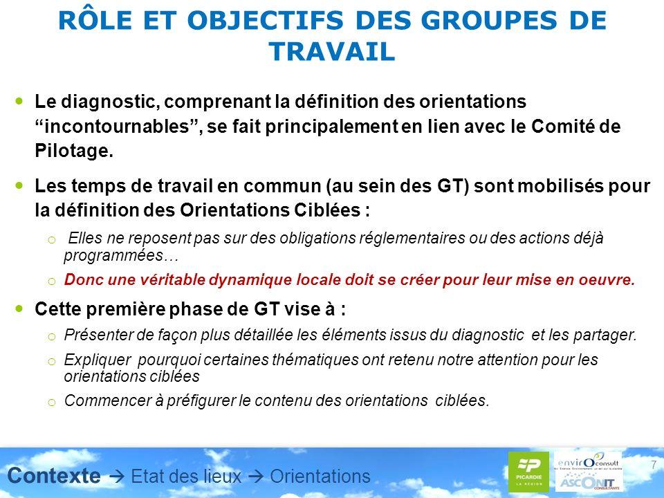 RÔLE ET OBJECTIFS DES GROUPES DE TRAVAIL Le diagnostic, comprenant la définition des orientations incontournables, se fait principalement en lien avec le Comité de Pilotage.