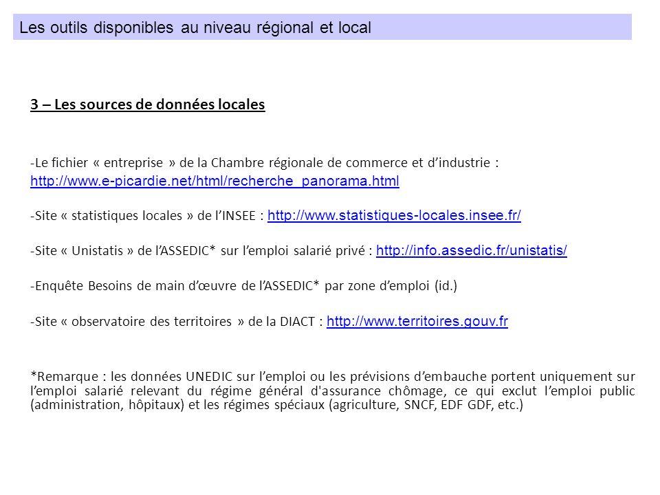3 – Les sources de données locales -Le fichier « entreprise » de la Chambre régionale de commerce et dindustrie : http://www.e-picardie.net/html/reche