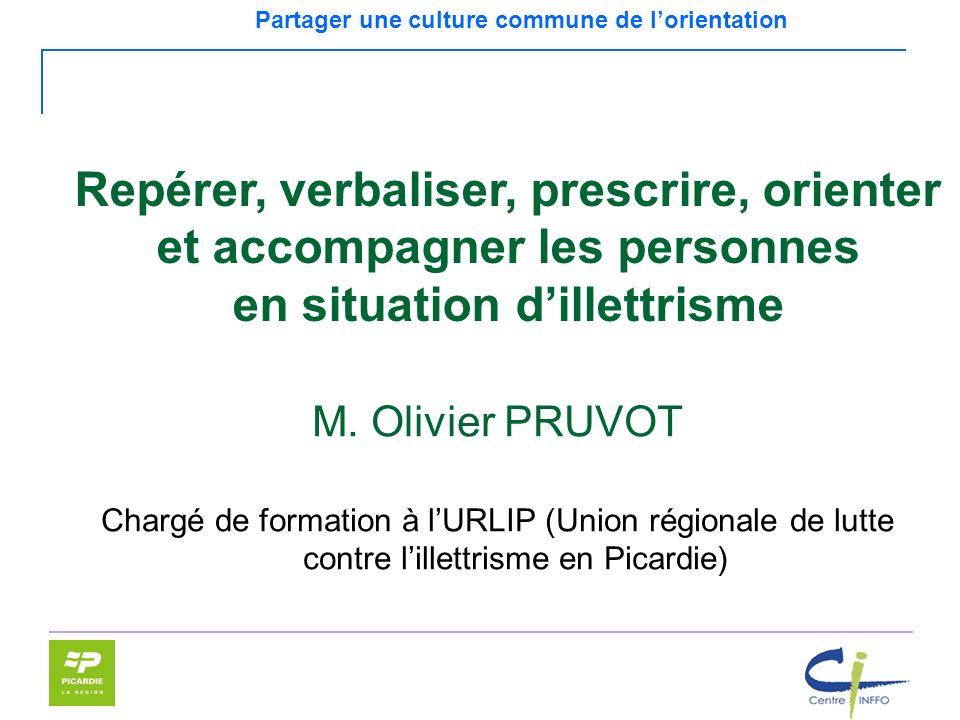Partager une culture commune de lorientation Repérer, verbaliser, prescrire, orienter et accompagner les personnes en situation dillettrisme M. Olivie