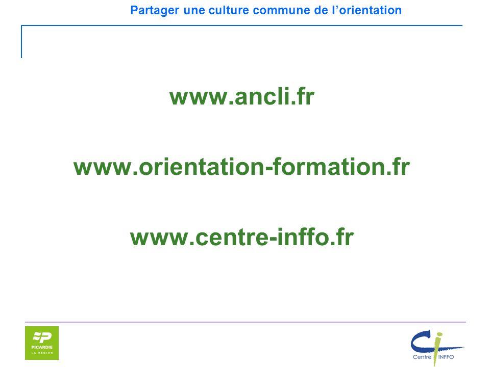 Partager une culture commune de lorientation www.ancli.fr www.orientation-formation.fr www.centre-inffo.fr