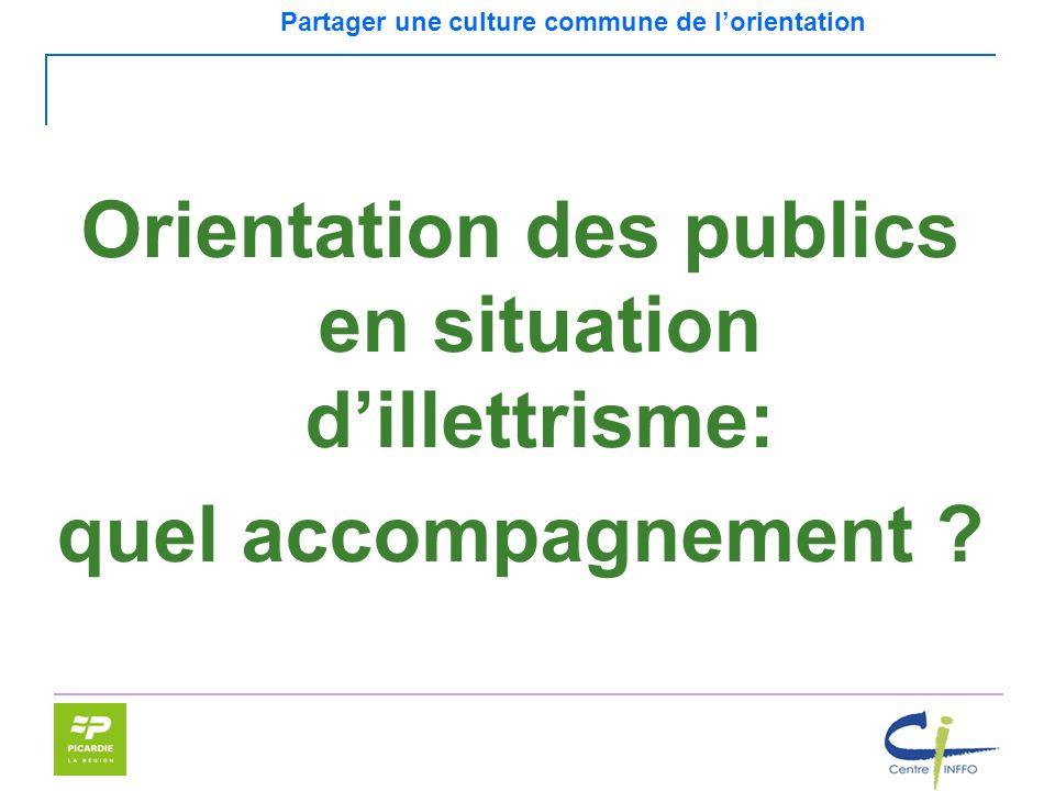Partager une culture commune de lorientation Orientation des publics en situation dillettrisme: quel accompagnement ?