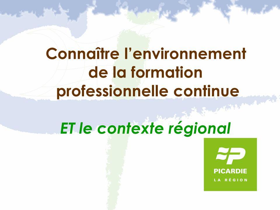 Connaître lenvironnement de la formation professionnelle continue ET le contexte régional