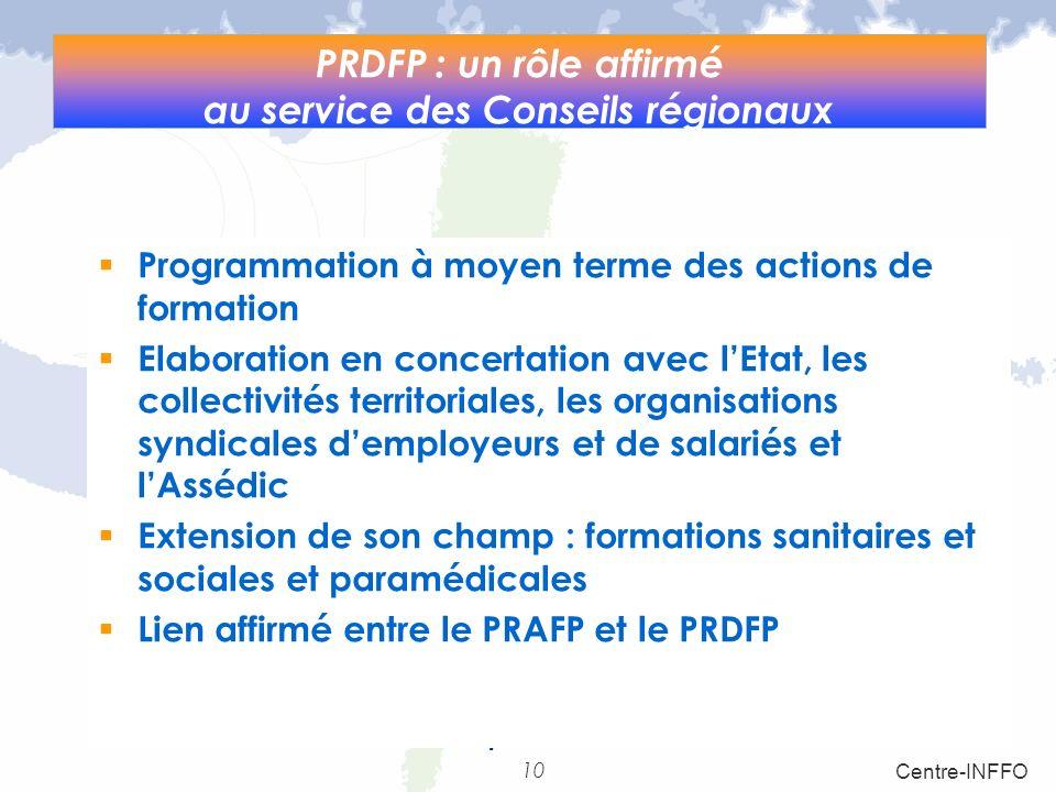 10 Centre-INFFO Loi relative aux responsabilités locales. art.11 PRDFP : un rôle affirmé au service des Conseils régionaux Programmation à moyen terme