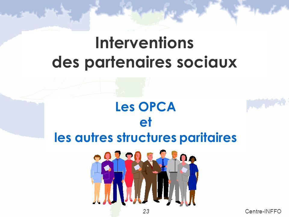 23Centre-INFFO Interventions des partenaires sociaux Les OPCA et les autres structures paritaires