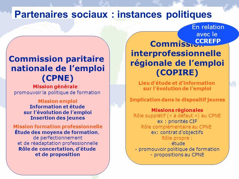 Partenaires sociaux : instances politiques Commission paritaire nationale de lemploi (CPNE) Mission générale : promouvoir la politique de formation Mi