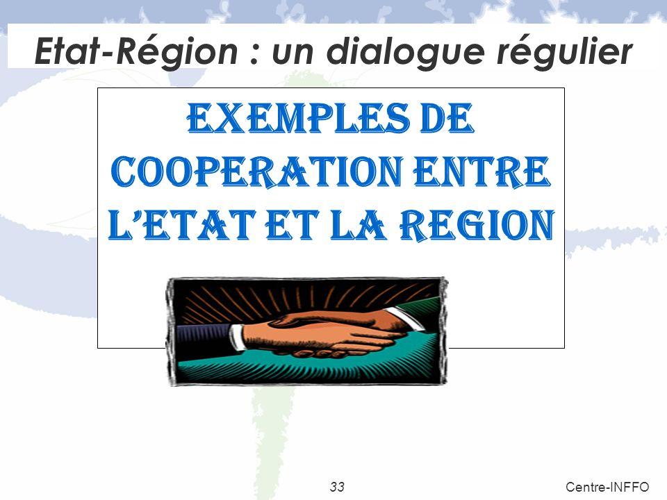 33Centre-INFFO Etat-Région : un dialogue régulier EXEMPLES DE COOPERATION ENTRE LETAT ET LA REGION