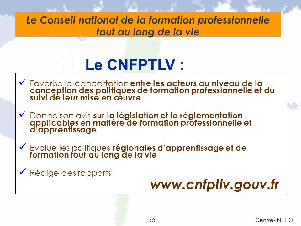36 Centre-INFFO Le Conseil national de la formation professionnelle tout au long de la vie Favorise la concertation entre les acteurs au niveau de la