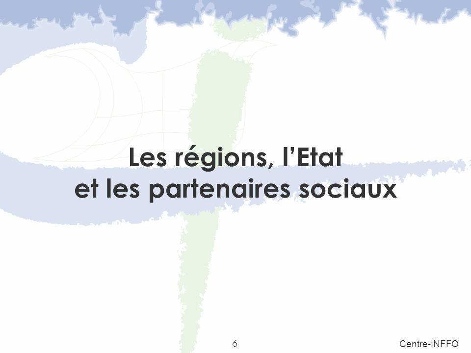 6 Centre-INFFO Les régions, lEtat et les partenaires sociaux