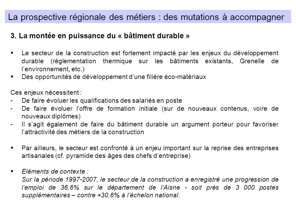 La prospective régionale des métiers : des mutations à accompagner 3. La montée en puissance du « bâtiment durable » Le secteur de la construction est