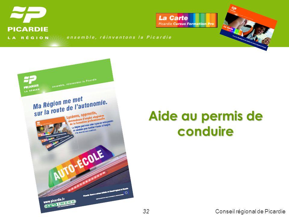 33Conseil régional de Picardie Objectifs Faciliter Faciliter laccès à un premier emploi qui nécessite des déplacements fréquents avec un véhicule personnel.