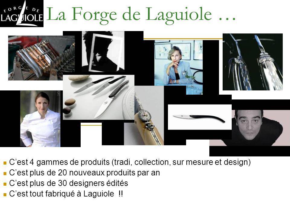 La Forge de Laguiole … Cest 4 gammes de produits (tradi, collection, sur mesure et design) Cest plus de 20 nouveaux produits par an Cest plus de 30 de