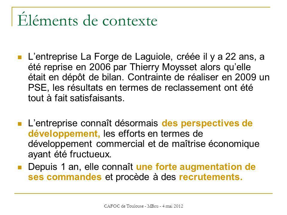 CAFOC de Toulouse - MBru - 4 mai 2012 Éléments de contexte Lentreprise La Forge de Laguiole, créée il y a 22 ans, a été reprise en 2006 par Thierry Mo
