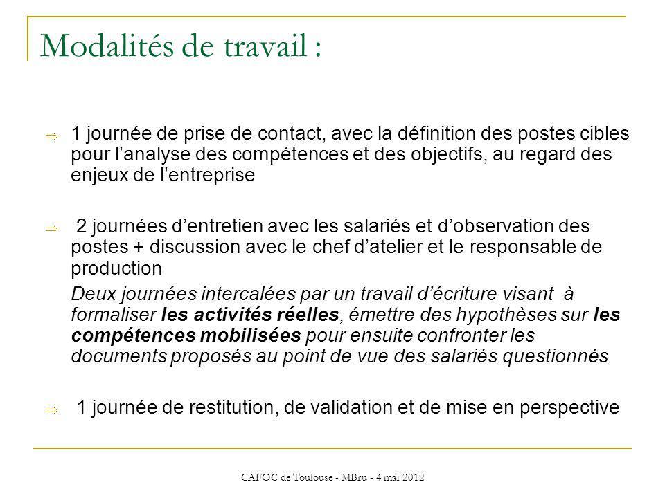 CAFOC de Toulouse - MBru - 4 mai 2012 Modalités de travail : 1 journée de prise de contact, avec la définition des postes cibles pour lanalyse des com
