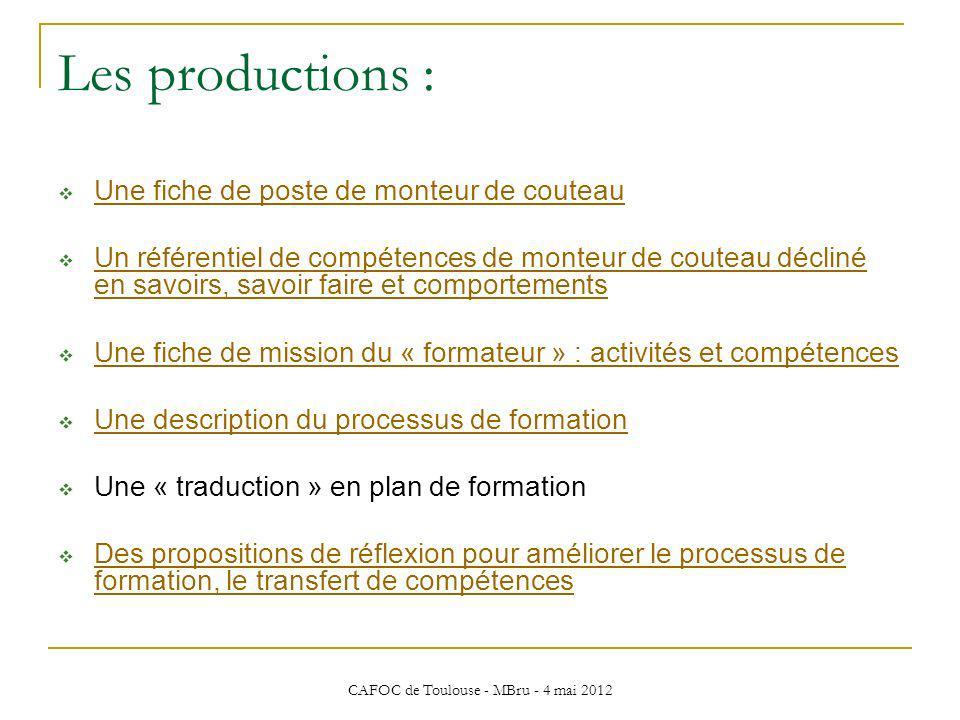 CAFOC de Toulouse - MBru - 4 mai 2012 Les productions : Une fiche de poste de monteur de couteau Un référentiel de compétences de monteur de couteau d
