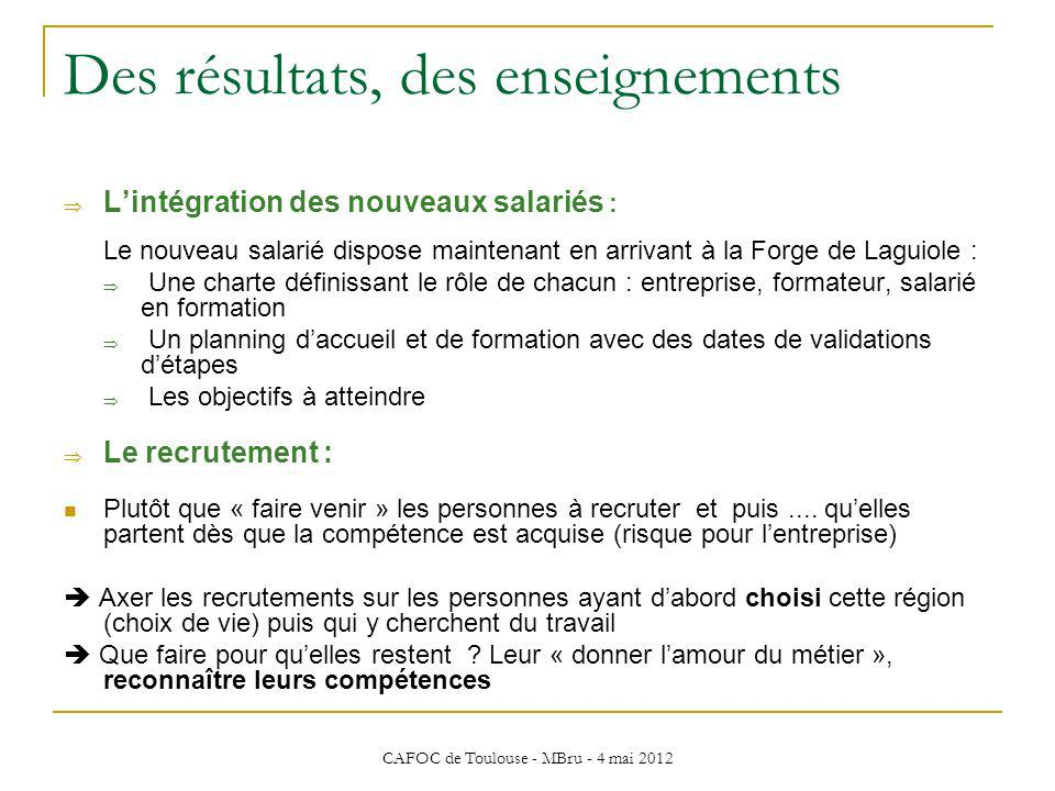 CAFOC de Toulouse - MBru - 4 mai 2012 Des résultats, des enseignements Lintégration des nouveaux salariés : Le nouveau salarié dispose maintenant en a