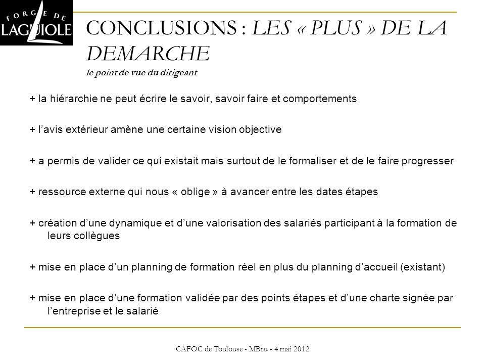 CAFOC de Toulouse - MBru - 4 mai 2012 CONCLUSIONS : LES « PLUS » DE LA DEMARCHE le point de vue du dirigeant + la hiérarchie ne peut écrire le savoir,