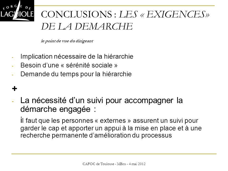 CAFOC de Toulouse - MBru - 4 mai 2012 CONCLUSIONS : LES « EXIGENCES» DE LA DEMARCHE le point de vue du dirigeant CONCLUSIONS - Implication nécessaire