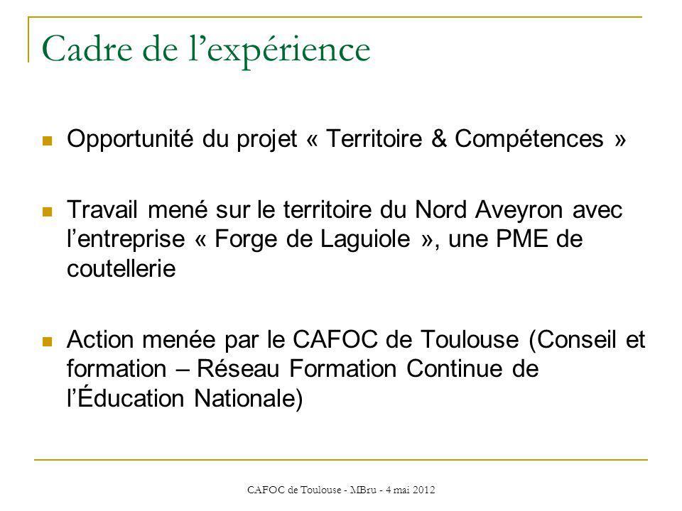 CAFOC de Toulouse - MBru - 4 mai 2012 Cadre de lexpérience Opportunité du projet « Territoire & Compétences » Travail mené sur le territoire du Nord A