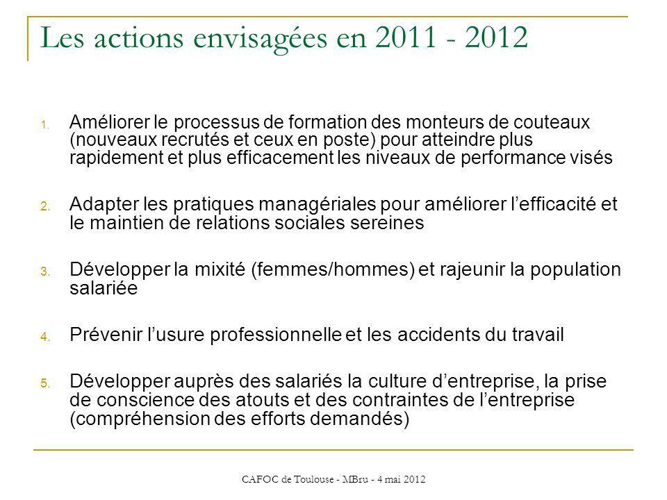 CAFOC de Toulouse - MBru - 4 mai 2012 Les actions envisagées en 2011 - 2012 1. Améliorer le processus de formation des monteurs de couteaux (nouveaux