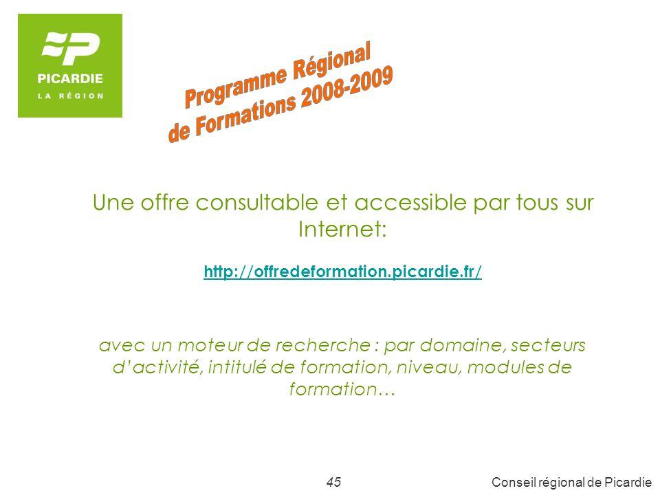 45Conseil régional de Picardie Une offre consultable et accessible par tous sur Internet: http://offredeformation.picardie.fr/ avec un moteur de recherche : par domaine, secteurs dactivité, intitulé de formation, niveau, modules de formation…