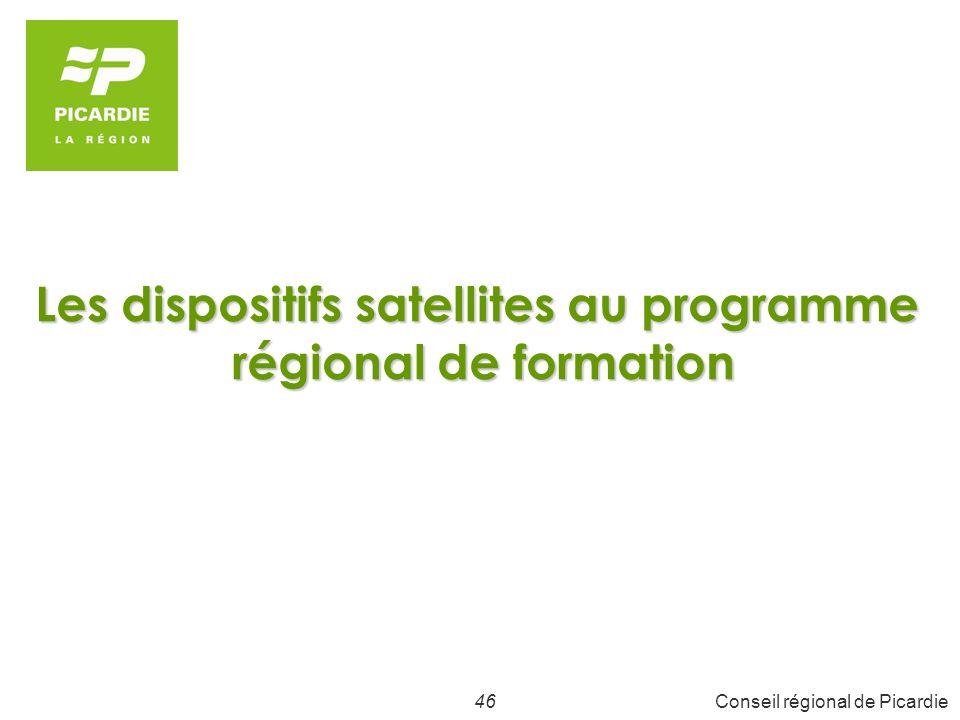 46Conseil régional de Picardie Les dispositifs satellites au programme régional de formation