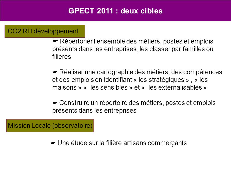 GPECT 2011 : deux cibles CO2 RH développement Répertorier lensemble des métiers, postes et emplois présents dans les entreprises, les classer par fami