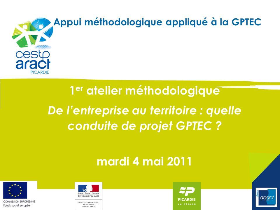 Appui méthodologique appliqué à la GPTEC 1 er atelier méthodologique De lentreprise au territoire : quelle conduite de projet GPTEC ? mardi 4 mai 2011
