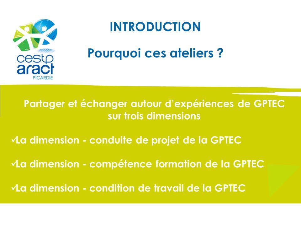INTRODUCTION Pourquoi ces ateliers ? Partager et échanger autour dexpériences de GPTEC sur trois dimensions La dimension - conduite de projet de la GP